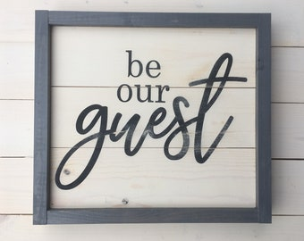 Be our Guest Shiplap Sign | Farmhouse Wall Decor | Guest Room Sign | Painted Wood Sign | Rustic Bedroom Room Decor |  Be Our Guest Gift
