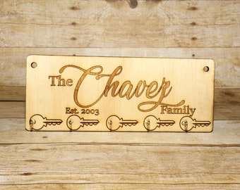 Key Hanger For Wall Personalized, Family, Wooden, Laser Engraved