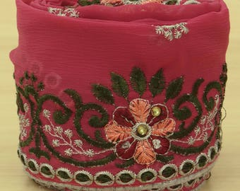 Free Shipping Vintage Indian Sari Trim Border Sewing Lace Embroidered Used Pink 1YD Ribbon VB12537