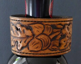 Hand Tooled Acorn & Oak Leaf Leather Cuff Bracelet