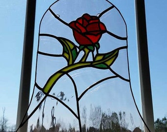 Beauty and the Beast Enchanted Rose Stained Glass Piece