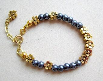 Child's Blue Pearl Bracelet Flower Girl Wedding Gold Extender Chain Yellow Gold Jewelry Flower Jewellery Charm