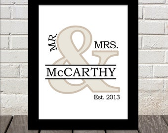 Darling Mr. & Mrs. Monogram Print