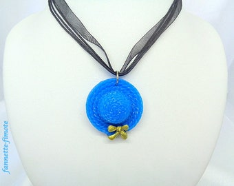 "Handmade polymer clay ""Hat"" Turquoise Blue and gold necklace-"