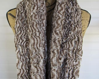 Faux Fur Scarf Silver and Brown Infinity Scarf - Faux Fur Infinity Scarf-Feathers Scarf- Gift for Her