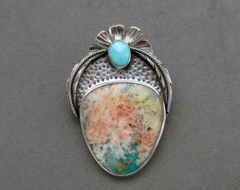 Feather Ridge Plume Agate Doublet, Kingman Turquoise, Sterling Silver Pendant