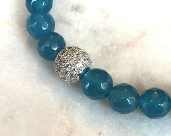 Blue Agate | Crystal Ball Bracelet | Disco Ball | Karma Ball | Silver | Cubic Zirconia Micro Pave Bead | Shamballa Bracelet | Agate Jewelry