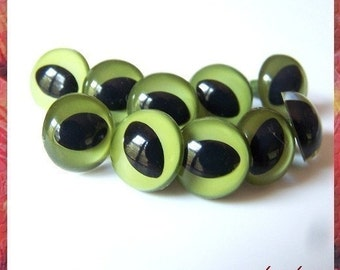 15 mm OLIVE CAT / FISH amiguumi animal plastic craft safety eyes - 5 pairs