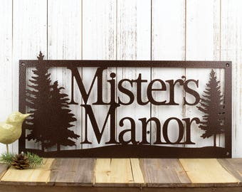 Custom Metal Sign   Outdoor Sign   Family Name   Custom Sign   Wedding Gift   Anniversary   Sign   Metal Wall Art   Pine Trees