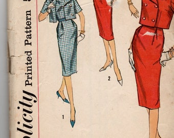 1959 VINTAGE SIMPLICITY PATTERN 2841 One Piece Dress & Jacket. Size 16. Bust 36