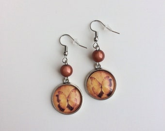 Orange Butterfly cabochons and Brown Pearl Silver earrings
