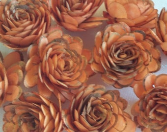 "Sola Wood Almond / Set of 10 / Sola Wood Flowers / 2"" size/Tangerine/Dyed/ Skins/Wedding Flowers/DIY Home Decor/Flowers/Wedding/Arrangements"