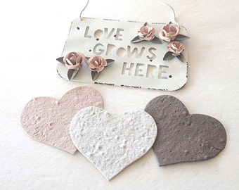 Large Plantable Seed Paper Hearts - diy wedding favors, place cards, save the date cards, creative invitations, thank you cards