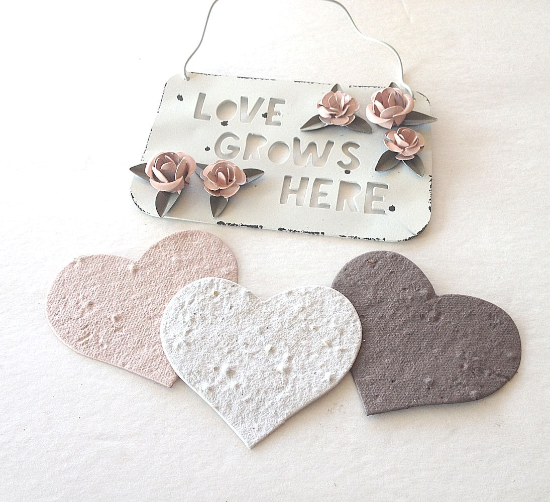 Large Plantable Seed Paper Hearts - diy wedding favors, place cards ...