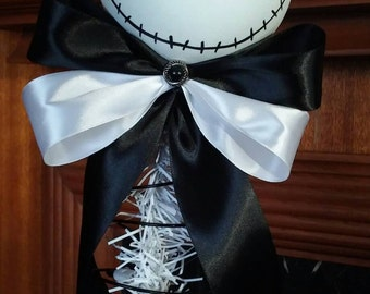 Nightmare before Christmas tree topper, Jack white head tree topper,Christmas ornament, nightmare before Christmas decoration 11-12""
