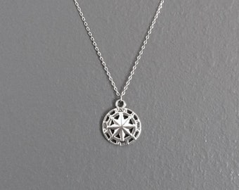 WAS 22.00, silver COMPASS pendant necklace, simple, small, alloy, metal, north star, everyday, circle, charm, burnished