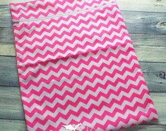 Large Wet bag Hot Pink Chevron PUL with White Zipper