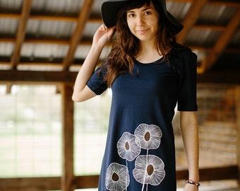 tshirt dress, navy blue dress, cotton dress, summer dress