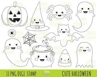80% SALE HALLOWEEN stamp, commercial use, kawaii stamp, digi stamp, halloween digi stamp, digital image, coloring page, printable graphics