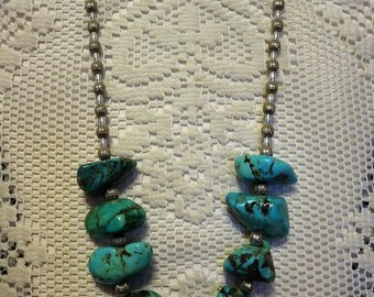Gorgeous Vintage Bohemian or Southwest Style Chunky Stabilized Turquoise Nugget & Silver Bead Necklace