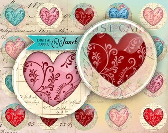 Hearts - circles image - digital collage sheet - 1 x 1 inch - Printable Download