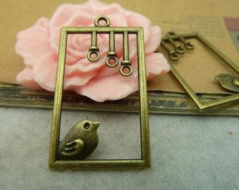 20pcs 22x40mm The Birdcage  Antique Bronze Retro Pendant Charm For Jewelry Bracelet Necklace Charms Pendants C3968