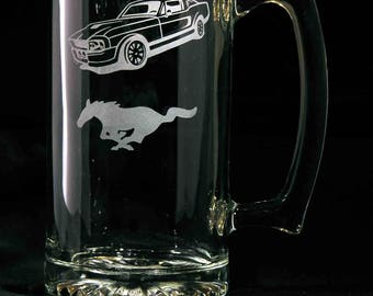 Mustang Hand Etched 26.5 Oz. Beer Mug