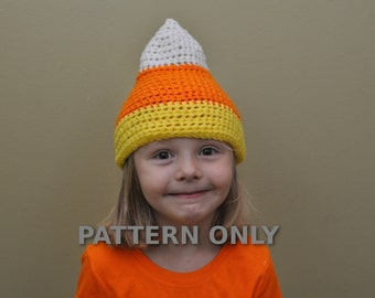 Candy Corn Hat Crochet PDF Pattern- Halloween Crochet Pattern- Candy Corn Crochet Pattern- Halloween Patterns