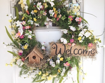 Grapevine Wreath for your front door, Spring grapevine wreath, Easter Wreath, Grapevine Wreath, Summer wreath, Floral wreath, Birdhouse