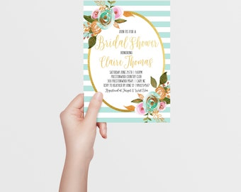 Bridal Shower Invitation | Watercolor Floral | Blush Pink | Mint Green | Mint Green White Striped | Gold Foil | Printable/Digital