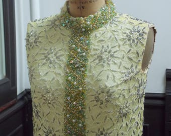 Vintage 1960s Yellow Beaded Lace Shift Dress, Made in Hong Kong
