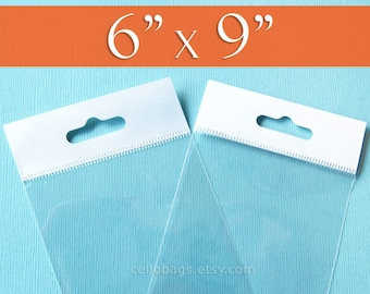 200 6 x 9 Inch HANG TOP Clear Resealable Cello Bags Packaging for Hanging on Display or Peg