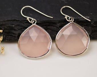 Blush Pink Drop Earrings, Sterling Silver Gemstone Dangle, Pink Chalcedony Earrings, Rose Quartz Earrings Silver, Gift for Girlfriend, Boho