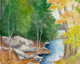 Lake Scranton Stream Watercolor