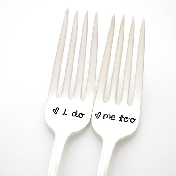 Silverware Wedding Gifts: I Do Me Too Forks. Wedding Silverware For Couples Gift By