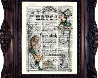 ALICE IN WONDERLAND Decor Alice in wonderland Art Print Alice Print on Dictionary Page. Alice Quote Print. Tea Party. ALice Wall Art. C: 541
