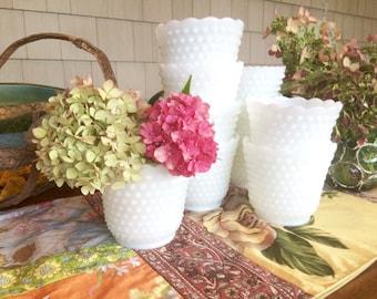 Vases Milk Glass Vases Milk Glass Bowl Milk Glass Planter Hobnail Glass White Vases Wedding Centerpieces Wedding Vases Planter Pot White Pot