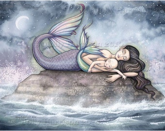 Mermaid Print - Sweet Moment of Bliss - Mother and Baby Mermaids 12 x 16