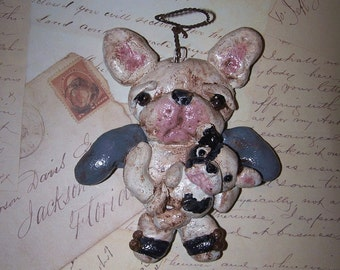 Folk Art Angel French Bulldog Doll Ornament Puppy Ooak Vintage