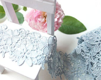 "2 Yards Lace Trim Gray Exquisite Alice Floral Lace Fabric 1.96"" width"