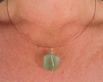 Found Glass Pendant, Beach Glass, Wabi-Sabi, Green, Silver Clasp, Art jewelry, Recycled