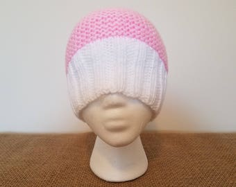 Pink & white beanie hat, Size small/medium