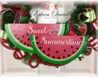 Watermelon sign, Double watermelon sign, Sweet Summertime, Hand Painted wood sign, Wreath accent, Wreath sign, Summer wreath accent