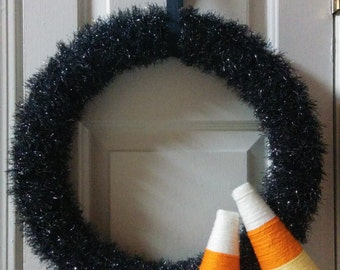 Halloween Yarn Wrapped Candy Corn Wreath