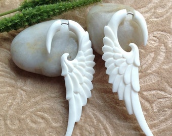 "Fake Gauges, Wing Earrings, ""Messenger"" Natural, Bone, Handcrafted, Tribal"
