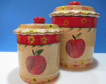 BELLA CERAMICA Apple CANISTER,  Apple Canister Set, Apple Storage Container, Apple Kitchen Storage, Apple Decor, Apple Kitchen Art