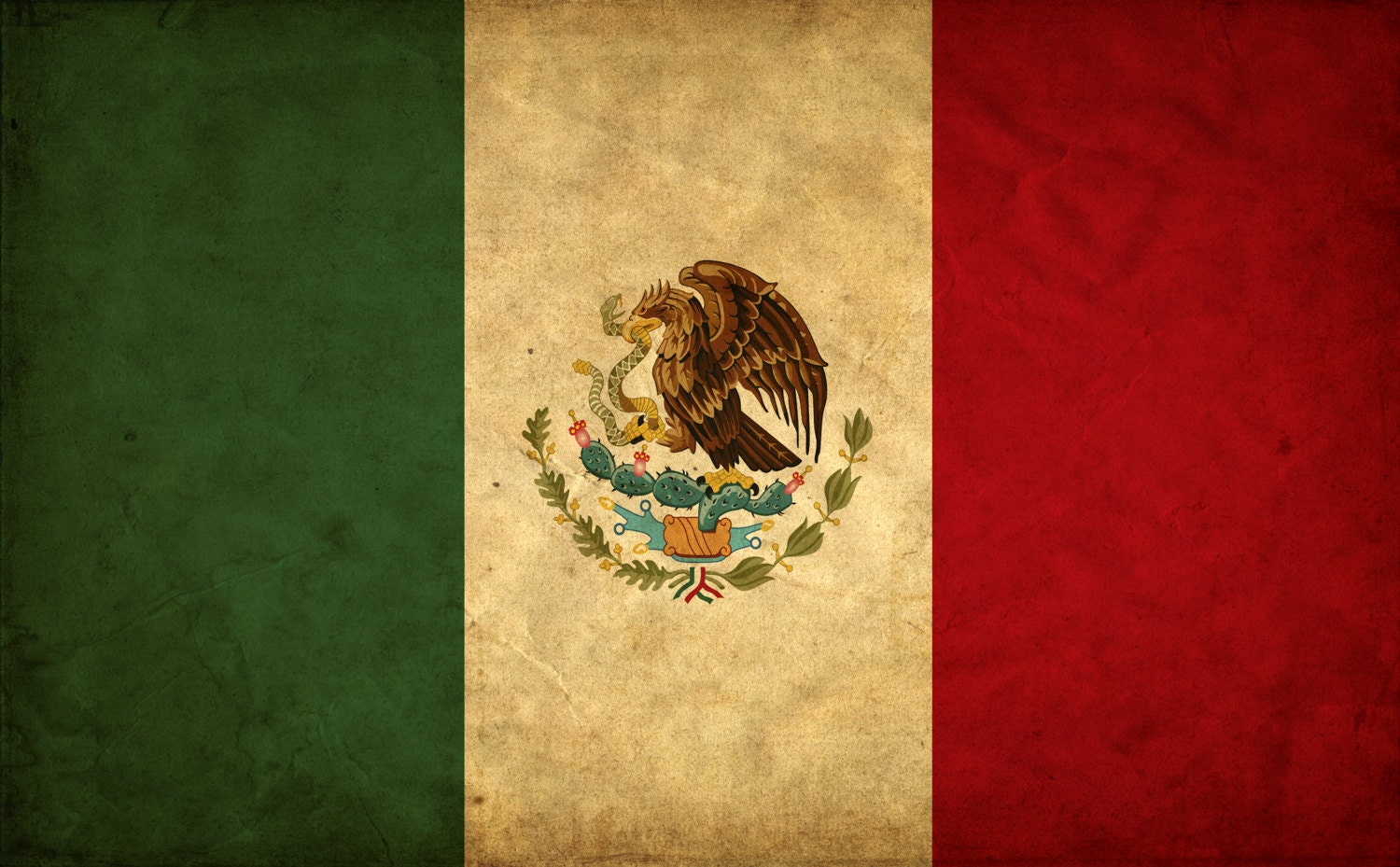 Vintage Mexico Flag on Canvas, Mexico Wall Art, Mexico Photo flag on ...