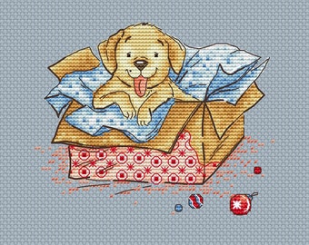 Puppy in the box counted cross stitch pattern pdf cute dog cross stitch chart puppy cross stitch for kid nursery decor cross stitch dog