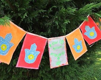 Hand Painted Prayer Flags How is Your Mudra Meditation Spiritual Garden Art Yoga Namaste Zen garden