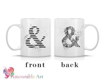 Coffee Mug, Ceramic Mug, Ampersand Typography Mug, Unique Coffee Mug Gift, 11oz or 15oz, Watercolor Art Print Mug, Black & White Typeface